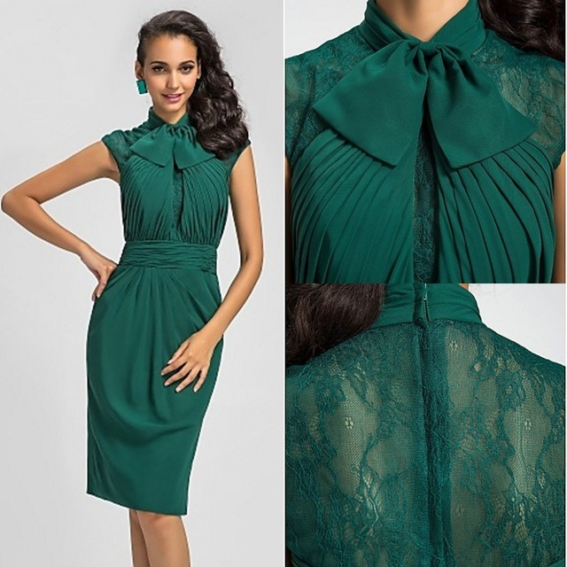 robe de soriee Dark Green Cocktail Dresses 2017 High Neck Knee ...