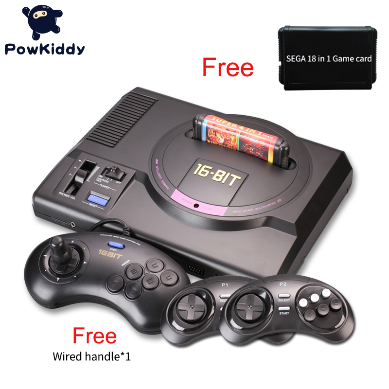 Hot hd Video Game Console sega mega drive game consol Genesis 18 in 1 free games cartridge with 2.4G wireless controller hot hdmi 16 bit video game console sega mega drive 1 genesis high definition hdmi tv out with 2 4g wireless controlle cartridge