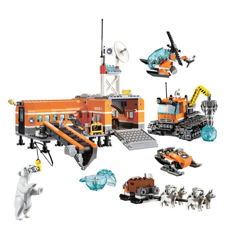 Convenable ville 10442 Compatible playmobil ville blocs brique arctique Base modèle kits de construction blocs modèle jouets pour enfants