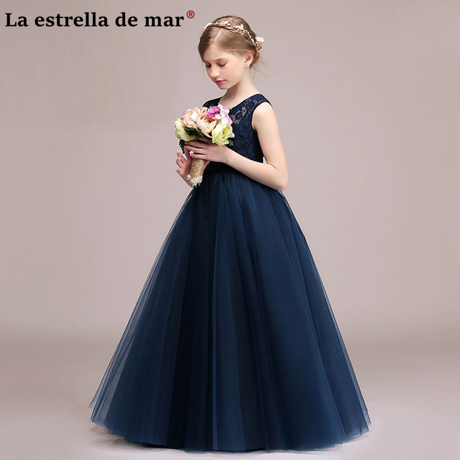 Communion Dresses 2018 New Tulle A Line Navy Blue Silver Ivory