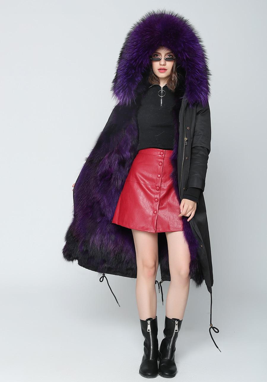 2019 Real Fur Coat Winter Jacket Women Long Parka Waterproof Big Natural Raccoon Fur Collar Hood Thick Warm Real Fox Fur Liner 57