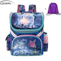 2016 New Girs School Bags Backpacks Child Orthopedic Waterproof Backpack For Kids Sofia Butterfly Bag Satchel