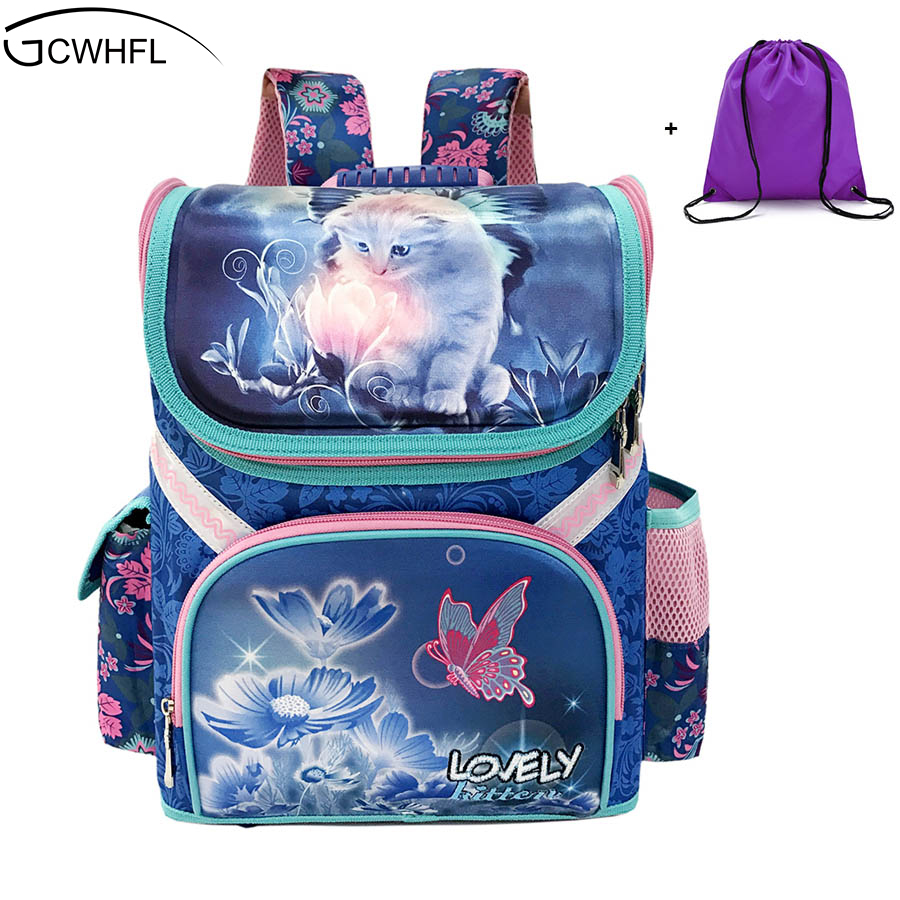 GCWHFL Girls School Backpacks Children School Bags Orthopedic Backpack Cat Butterfly Bag For Girl Kids Satchel Knapsack Mochila