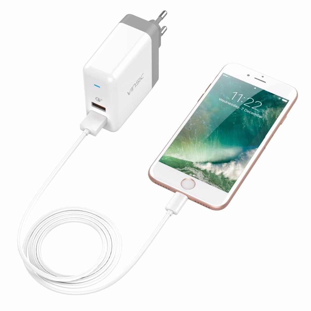 Vinsic Cepat Biaya 3.0 Ganda USB Dinding Charger QC3.0 Mini Travel Charger Adapter untuk Iphone Samsung S9 Xiaomi Mi8 Uni Eropa /US Plug