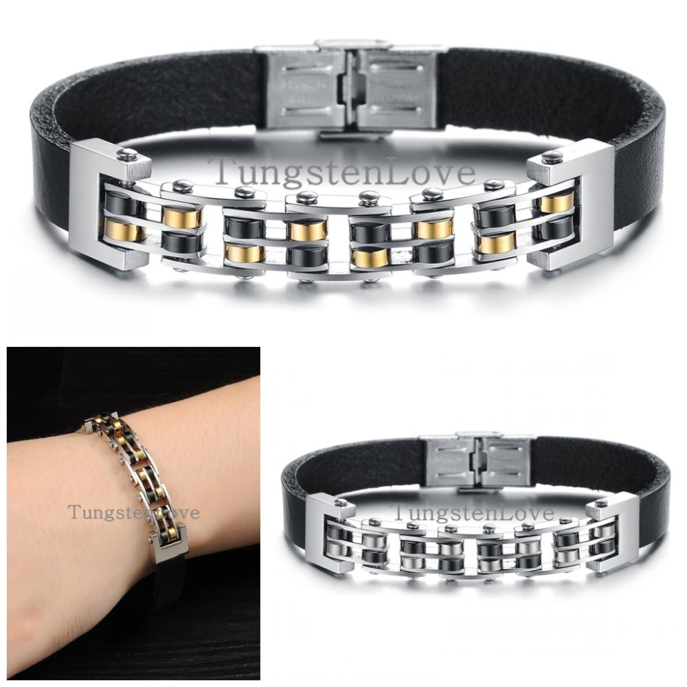 22 Cm Cool Stainless Steel Black Leather Bracelets For Men Charm Bracelets  Bangles Male Punk Jewelry