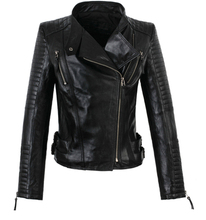 2017 new spring womens black long-sleeved short coat street sexy genuine leather 1 jacket natural sheepskin jackets clothing
