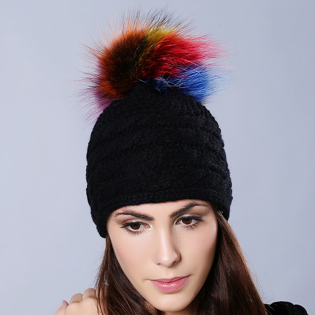 Fashion Winter Women's Warm Bobble Real Raccoon Fur Pom Pom Balls Beanie Ribbed Knitted Hats Colorful Ball