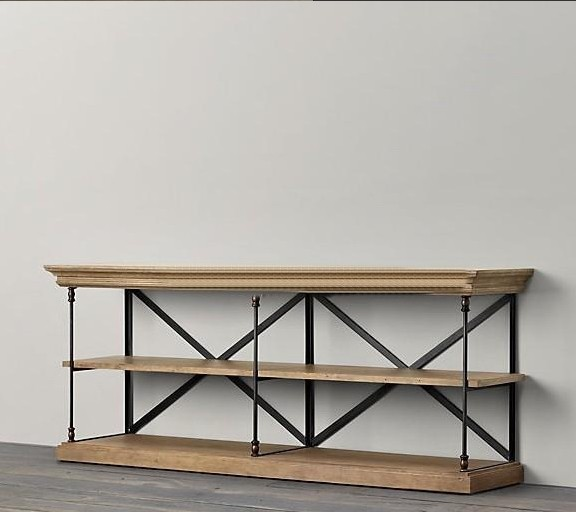 Vintage Wrought Iron Wood TV Cabinet Console Table Desk Entrance Hall Mash  TV Cabinet Racks ...