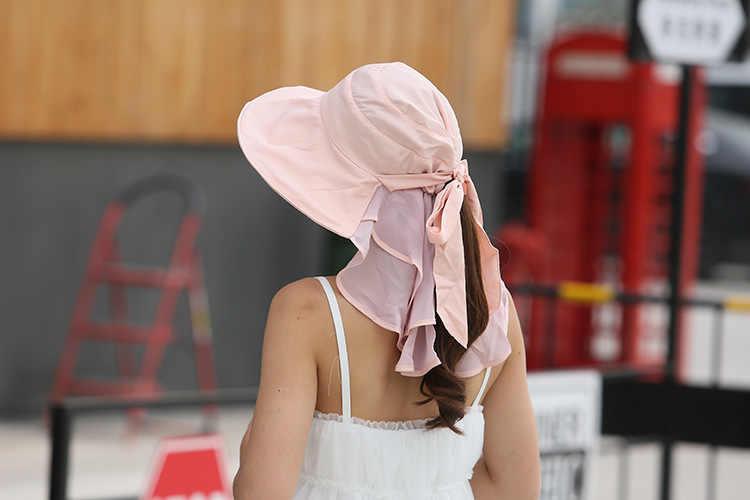 Sun หมวกคอหน้าสำหรับผู้หญิง Sombreros Mujer Verano ฤดูร้อนกว้าง Brim หมวก Visor Anti - Uv Chapeu Feminino กลางแจ้ง