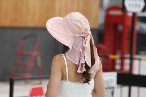 Image 4 - 太陽の帽子フェイスネック女性ソンブレロmujer veranoにワイドつば夏バイザーキャップ抗uv chapeu feminino屋外