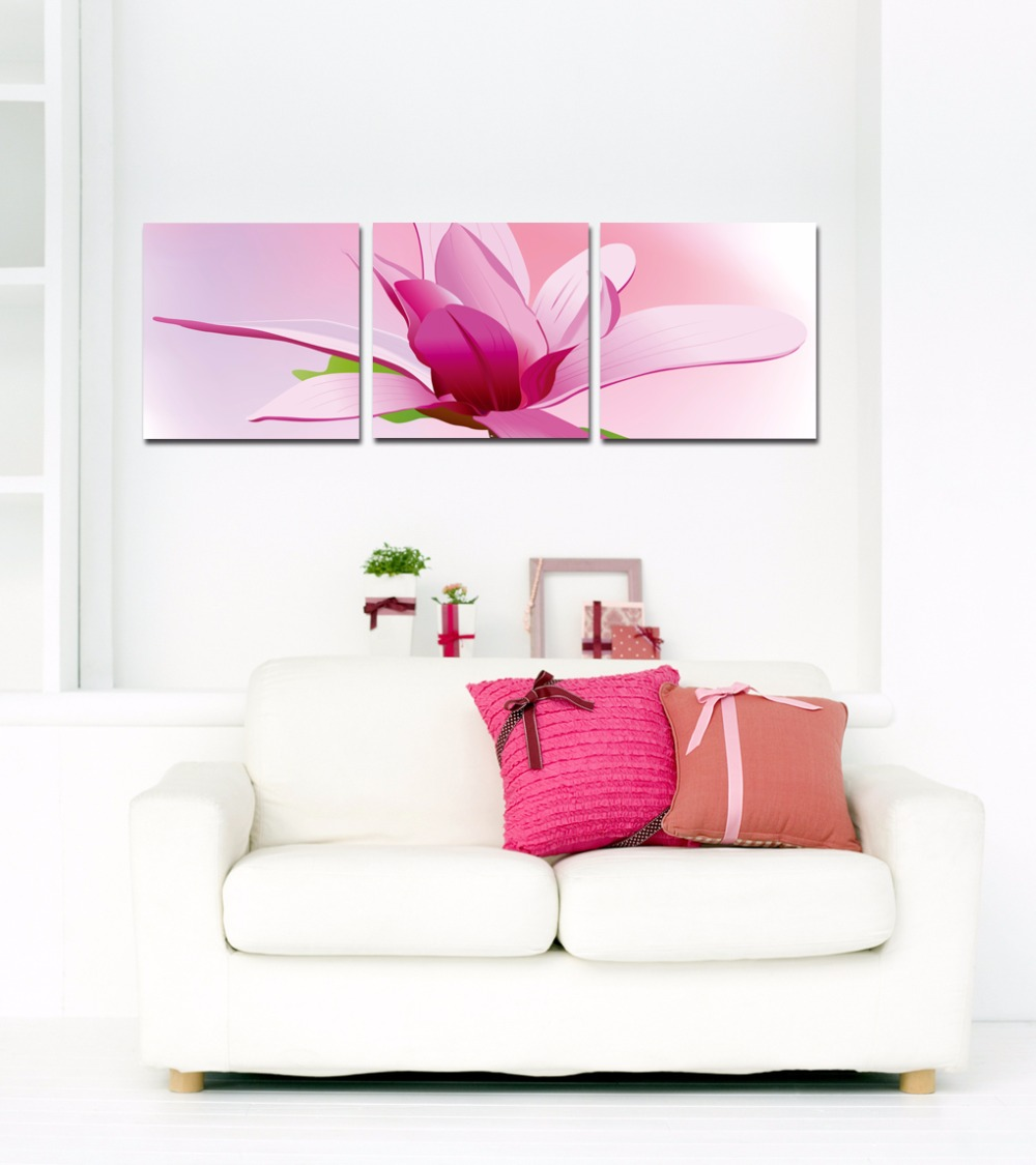 Home Office Sets Painted Office 5 Piece: 3 Piece Art Set Pink Blooming Flower Picture Home Living
