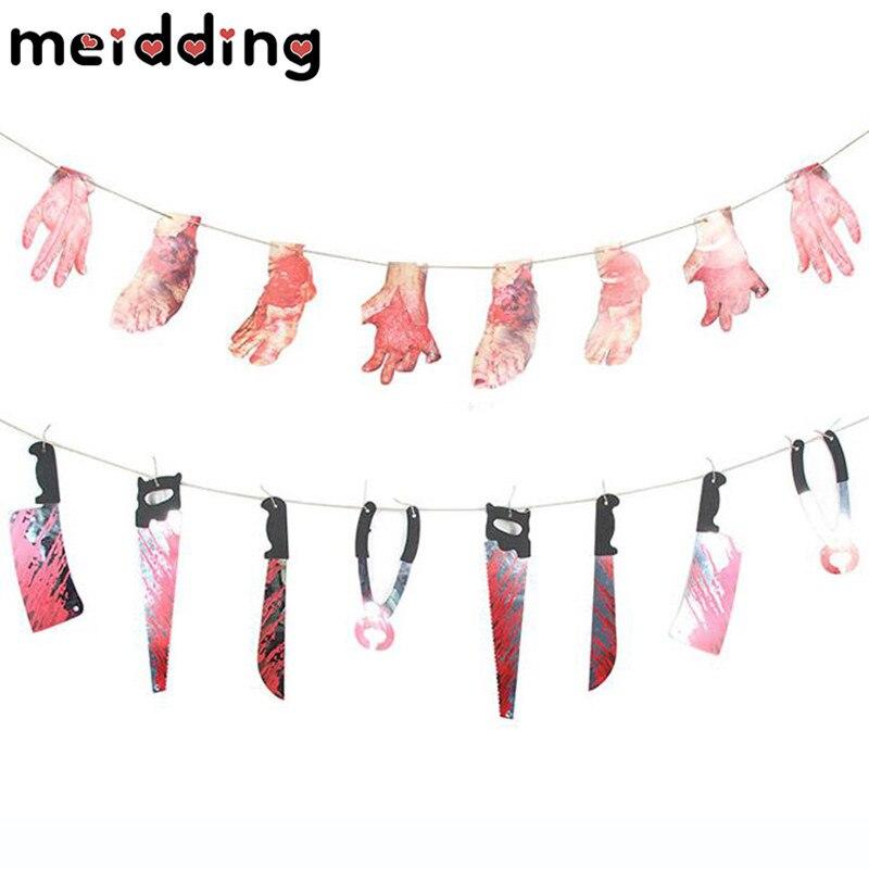 MEIDDING 2 2M Halloween Scary Banner Hand Foot Garland