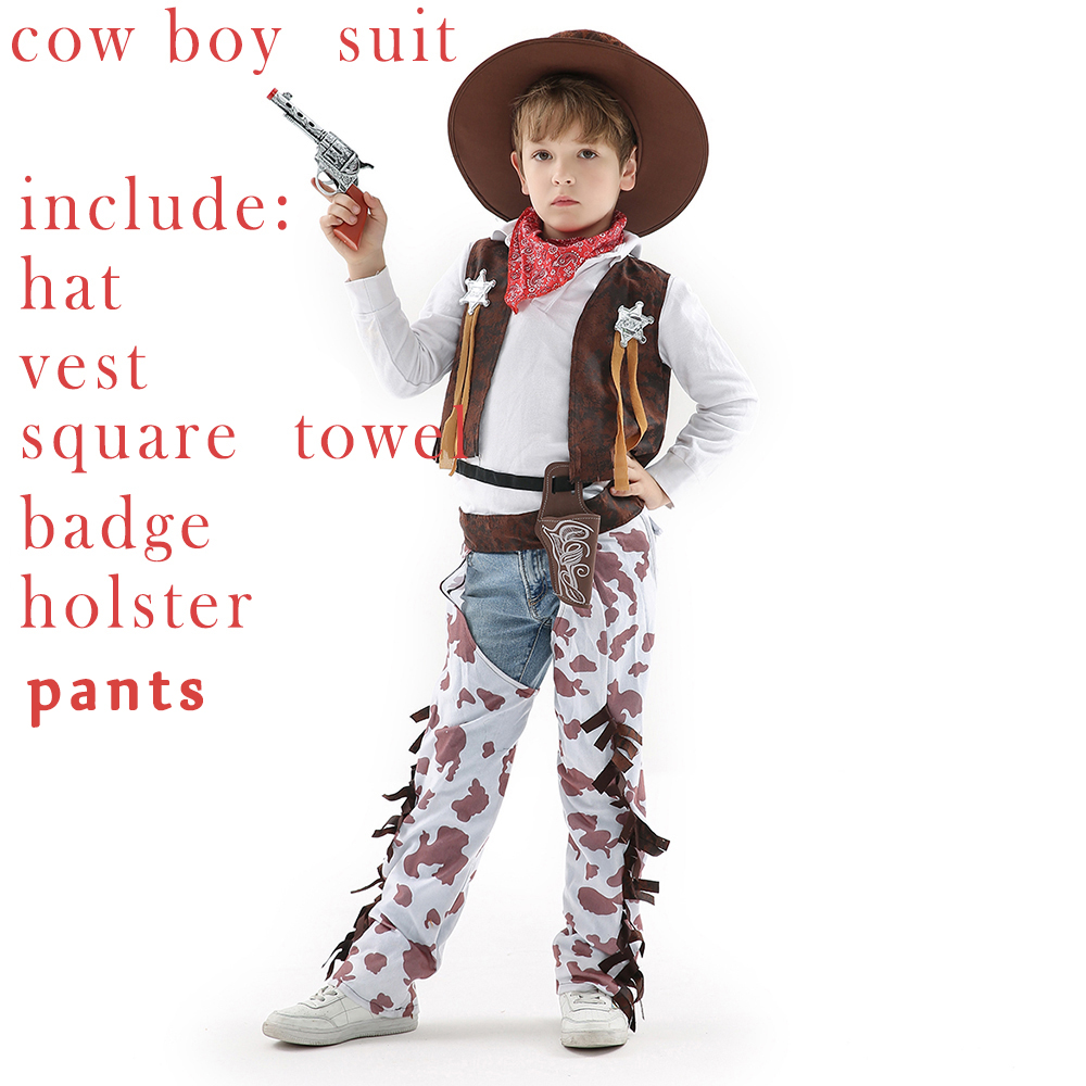 Cosplay Costume For Kids Boys Girls Kids Boy's New Year Dress Cowboy Outfit Costume Children Party Halloween suits 7 in 1