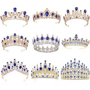 Royal Blue Crystal Kronen Gouden Bruid Tiara Fashion Queen Voor Wedding Crown Pageant Hoofddeksel Wedding Party Haar Sieraden