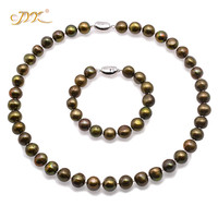 JYX Charming pearl sets women 11 12mm natural Flat Round Green Brown Freshwater Cultured Pearl Necklace Bracelet Jewelry Set