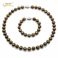 JYX Charming pearl sets women 11-12mm natural Flat Round Green-Brown Freshwater Cultured Pearl Necklace Bracelet Jewelry Set