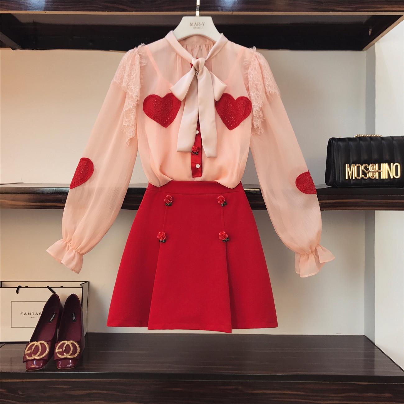 Robe Deux Costume D'été coréen Filles Skitys Fée rose Blouse Printemps pièce Dames Femme Rouge Ensemble Tempérament De Nouvelle Noir Robes dF7wEqx
