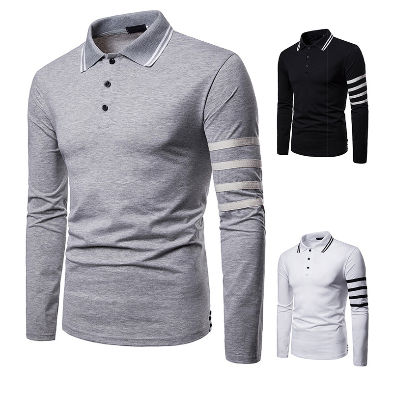ZY 2019 Business Long Sleeve Men   Polo   Shirts Solid Striped Lapel Collar Mens Cloth Tee Shirts   Polo   Eden Park Homme   Polo   Hombre