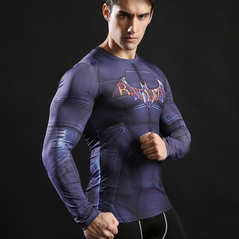 Crossfit Compression Sports Men Long Sleeve Shirt  Fitness Batman 3D Quick Dry Men's Running T Shirt Gym Clothes Top Rashgard