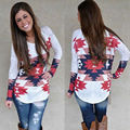 Women T-Shirt  New Fashion  Lady Loose Long Sleeve Tops  Shirt Casual Cotton Tee Autumn Summer