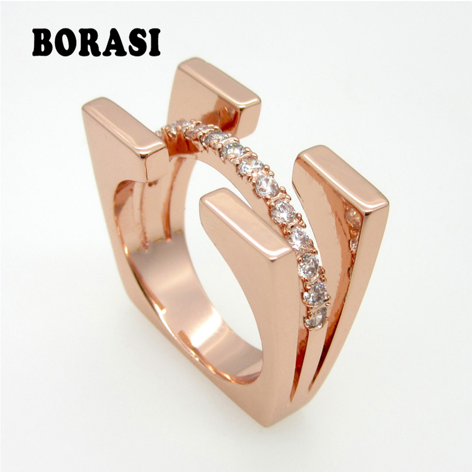 Top Quality Fashion Jewelry Square Double Luxury Brand Crystal Ring For Women Rose Gold Color With Cubic Zircon Ring
