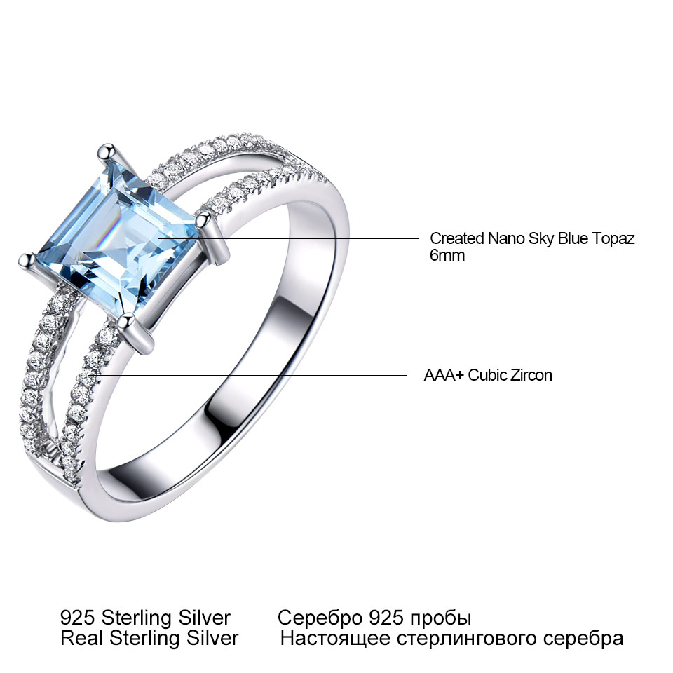 Image 4 - UMCHO Sky Blue Topaz Rings For Women 925 Sterling Silver Wedding Band Anniversary Dainty Ring Square Cut Gemstone Fine JewelryRings   -