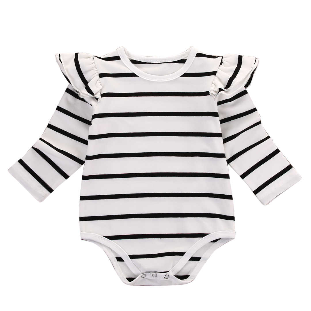 8b1e284b4178 Newborn Baby Boy Girl Cotton Ruffle Long Sleeve Striped Romper Jumpsuit  Outfits Clothes
