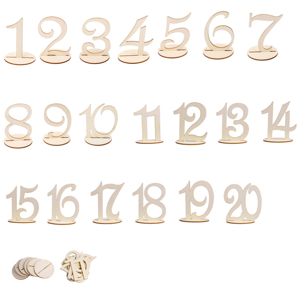 MDF Wooden 10cm Table Numbers Sign Stand 1-10/11-20/1-20 Base Set Wedding Birthday Party French Home Decor