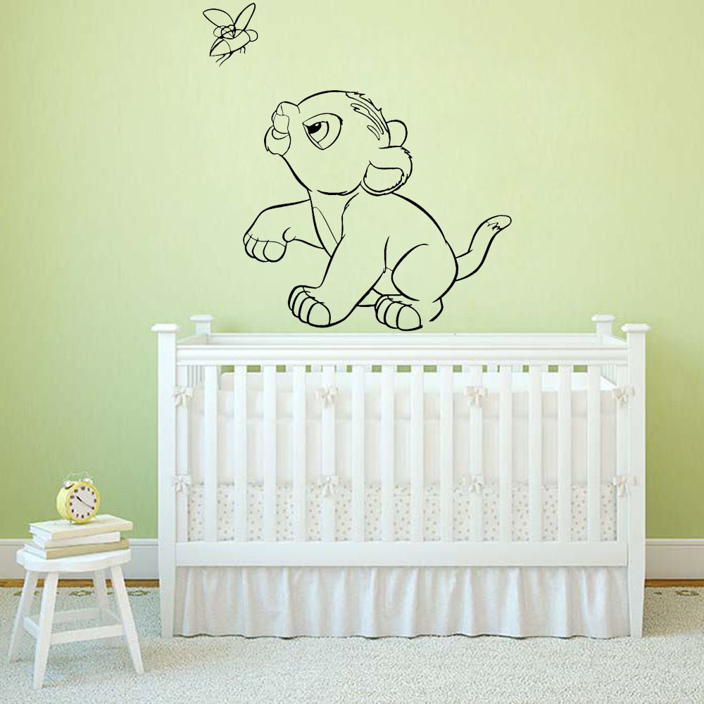 Animal Home Decor Simba Wall Stickers For Kids Room Boys Lion King Room Decoration Wall Vinyl Decals Cartoon Wallpaper B541(China)