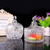 Hot Sale Sugar Container Dried Fruit Transparent Glass Box Small Items Organizer Family Decoration