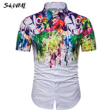 SUKIWML Color Ink Mens Casual Shirts 2018 New Summer Short Sleeves Mens  Dress Shirts Luxury Brand Chemise Homme Plus Size M-3XL c55e15bbb05e