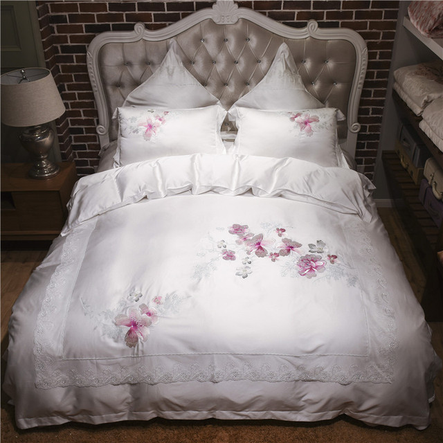 4/6pcs Gray gold Embroidery Royal bedding sets queen king size duvet cover set soft Tencel Fabric luxury bedlinen