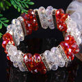 "Free Shipping 7x10MM Red and Clear Crystal Faceted Beads 18KGP Stretch Bracelet 7""  1Pcs H619"