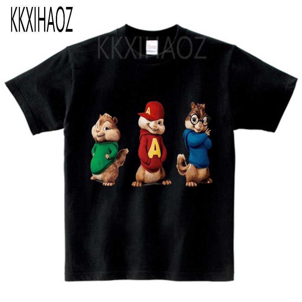 Alvin and the Chipmunks Alvin Print t-shirt kids tops Tee Comfortable t shirt boy girl Casual cartoon Short Sleeve TEE camiseta 6
