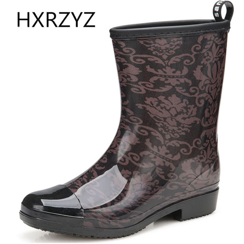 HXRZYZ women rain boots spring/autumn ankle boots  female new fashion printing or leopard grain waterproof non-slip women shoes new spring autumn rain boot woman ankle boots sexy women rain boots