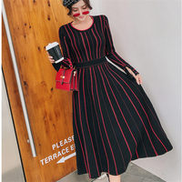 Autumn Winter Women Knitted Sweater Dress Red Retro O Neck L Sleeve Elastic Sexy Slim Ladies Dresses Vestidos mujer Robes
