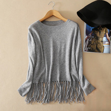 Women's fashion tassel decor 100% pure cashmere knitting pullover sweater with solid color long sleeves