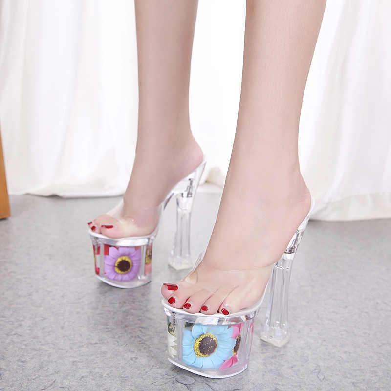 1fb24e10 ... Sandalias de tacón cuadrado para mujer verano sol flor Sexy cristal zapatos  tacones finos 17 cm ...
