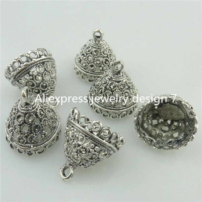 Free Shipping 18221 15PCS Tibetan Silver 17.5mm Bell Shape Beads Cap End For Tassels Charms
