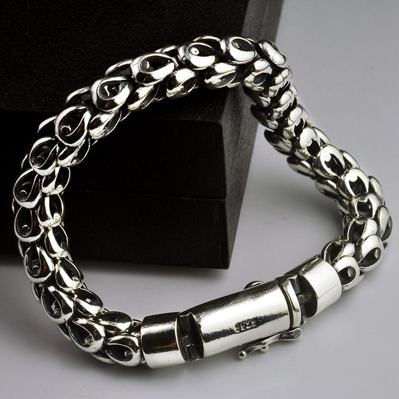 925 Sterling Silver Men Bracelet Dragon Scale Bracelet Men s Coarse Heavy Thai Silver Chain Punk