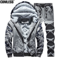 Winter Camouflage Hoodies Tracksuit Men Plus Velvet Thick Warm Hooded Hoodies And Sweatshirts 2 Pieces Set Mens Outwear Jackets