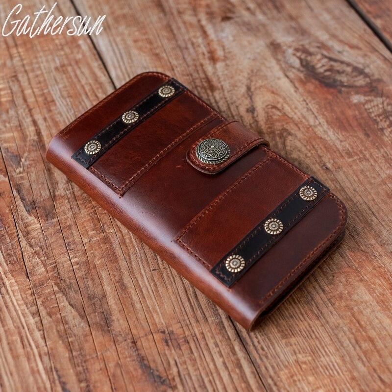 ФОТО Gathersun Brand Handmade Original Vintage Style Genuine Leather Flip Case Cover Protective Phone Case For iphone7/iphone7Plus