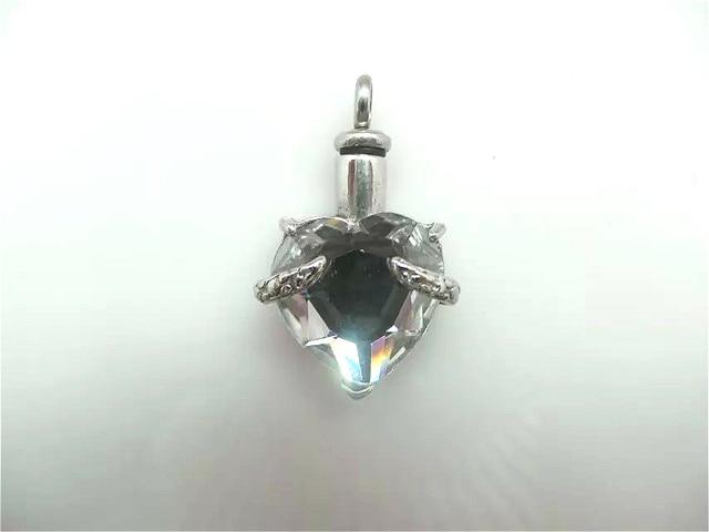Solid Crystal Heart Urn Pendant