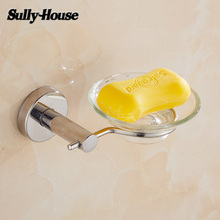 Sully House Stainless Steel Bathroom Glass Soap Dishes Holder Dispenser,Toilets Soap Container Ashtray Shelf Bathroom Accessory