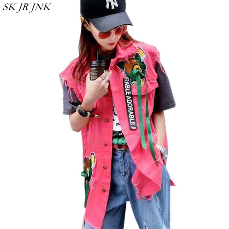 2017 Spring Autumn Women Denim <font><b>Jacket</b></font> Ladies Holes Sleeveless Denim Vest <font><b>Jackets</b></font> Fashion Casual Female Harajuku Jean Coat WQ356