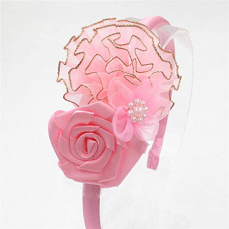 น่ารักHairbandsผมห่วงบิ๊กดอกไม้ลูกไม้Phnomชีฟองดอกกุหลาบผมวงสาวคาดศีรษะหัวหน้าห่วงสาวอุปกรณ์ผม