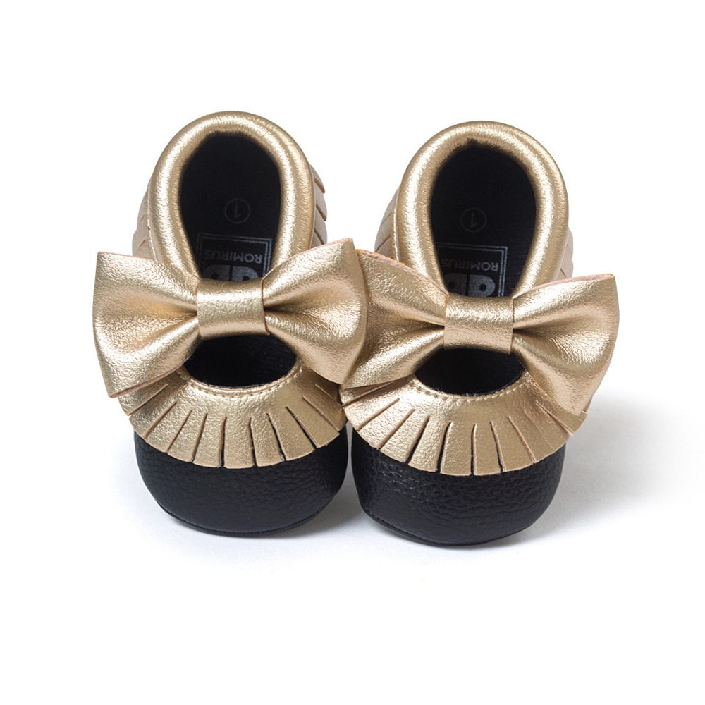 Nya 2016 Baby Girls Mary Jane Blomma Babyskor PU Läder Baby Mockasiner Gold Bow Girls Första Walker Toddler Moccs