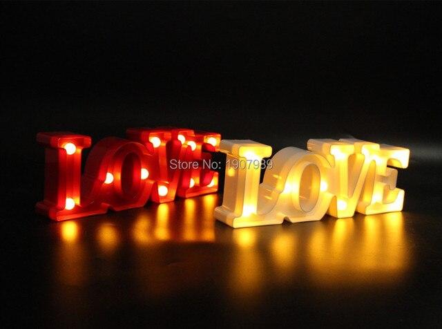 """12 """"wide mini Branco vermelho de plástico"""" AMOR """"Inscreva-se Letreiro LED LIGHT UP Adesivo carta de AMOR Dia dos namorados luz Interior Queda De Potência"""