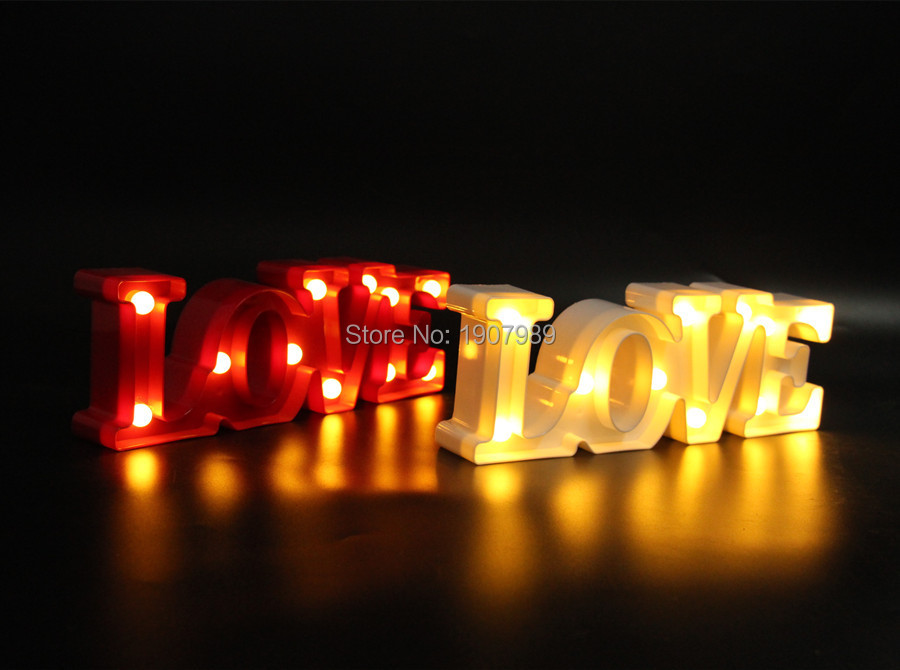 "12""wide mini White red plastic  ""LOVE"" LED Marquee Sign LIGHT UP Adhesive LOVE letter  light  valentine's Day  Indoor Deration"