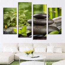 Living Room HD Printed Painting Posters Modern Wall Art 4 Panel Bamboo Candle Black Cobblestone Home Decoration Pictures Frame(China)